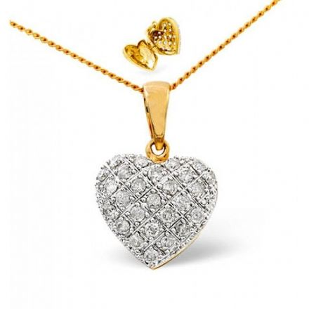 9K Gold 0.47ct Diamond Pendant, E1357